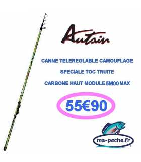 CANNE TOC TELEREGLABLE TRUITE INNOVATION TELETROUT CAMOUFLAGE